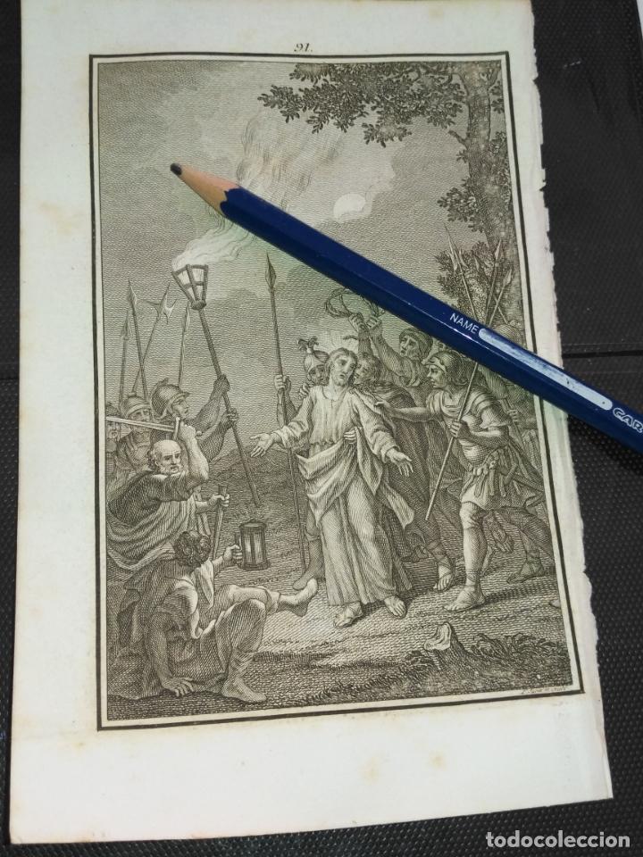 ORIGINAL GRABADO RELIGIOSO AÑO 1840 EL PRENDIMIENTO DE JESUS (Arte - Arte Religioso - Grabados)