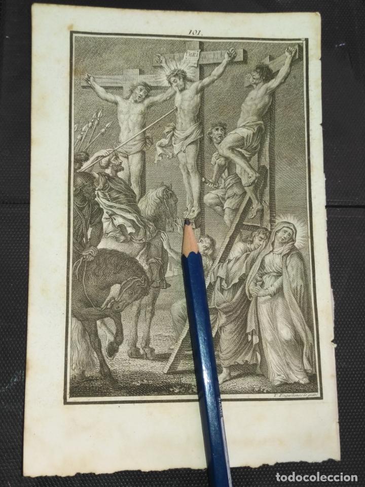 ORIGINAL GRABADO RELIGIOSO AÑO 1840 CRISTO - LA LANZADA , CRUCIFICADOS . (Arte - Arte Religioso - Grabados)
