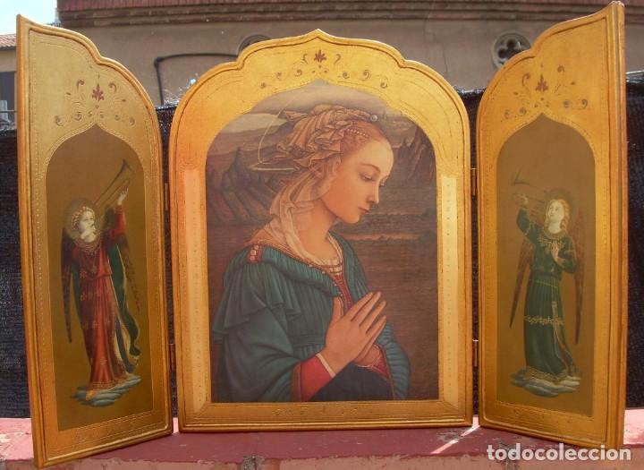 TRIPTICO RELIGIOSO CON LÁMINAS SOBRE MADERA DORADA (Arte - Arte Religioso - Trípticos)