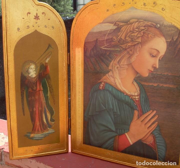 Arte: TRIPTICO RELIGIOSO CON LÁMINAS SOBRE MADERA DORADA - Foto 2 - 169112704