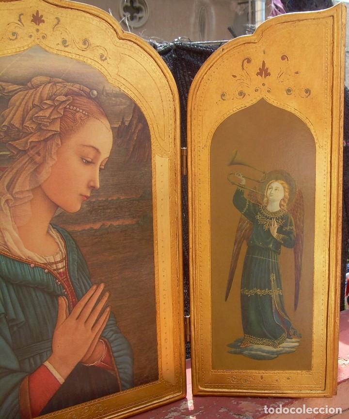 Arte: TRIPTICO RELIGIOSO CON LÁMINAS SOBRE MADERA DORADA - Foto 3 - 169112704