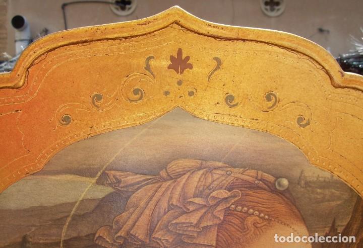 Arte: TRIPTICO RELIGIOSO CON LÁMINAS SOBRE MADERA DORADA - Foto 5 - 169112704
