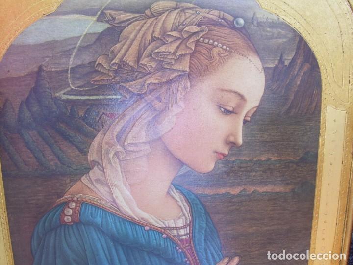 Arte: TRIPTICO RELIGIOSO CON LÁMINAS SOBRE MADERA DORADA - Foto 6 - 169112704