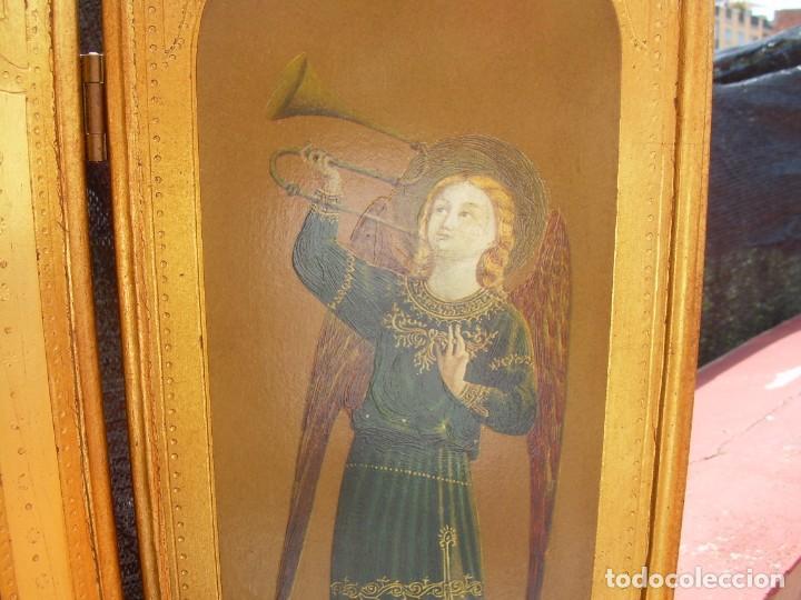 Arte: TRIPTICO RELIGIOSO CON LÁMINAS SOBRE MADERA DORADA - Foto 8 - 169112704