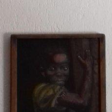 Arte: CUADRO OLEO MUCHACHA AFRICANA PINTOR DESCONOCIDO ANTIGÜEDAD DESCONOCIDA MEDIDAS LIENZO 41X33. Lote 169416636