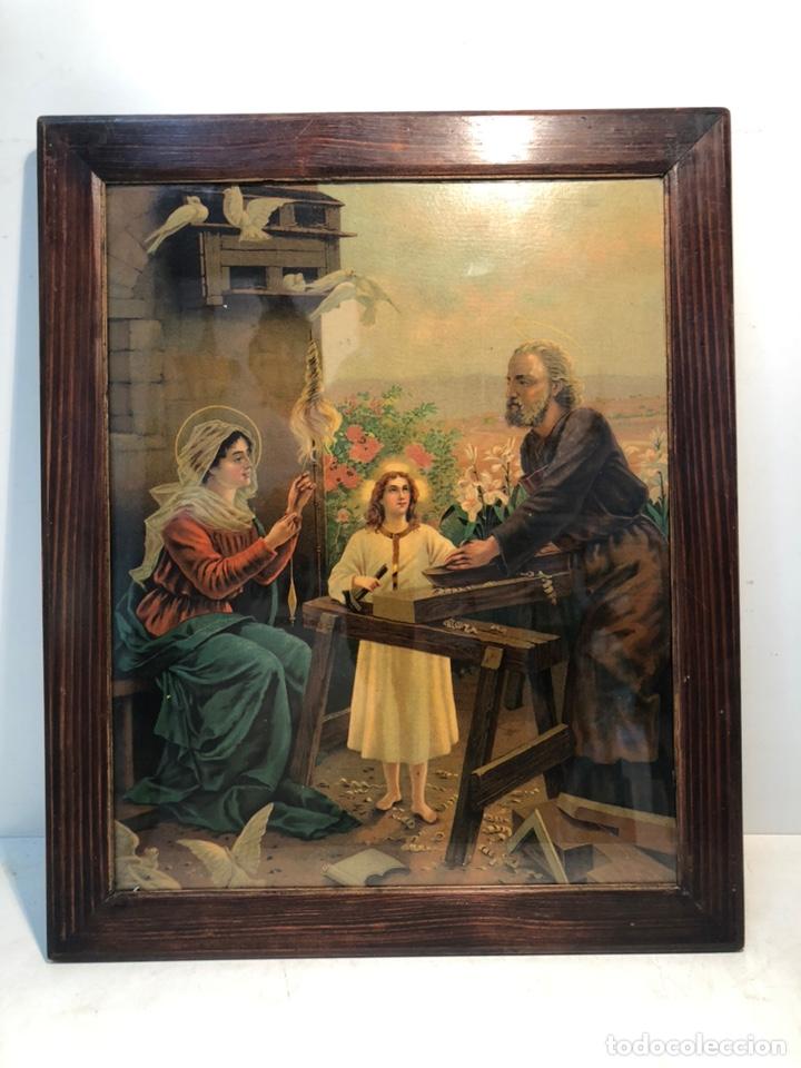 CROMOLITOGRAFIA DE LA SAGRADA FAMILIA ANTIGUA. (Arte - Arte Religioso - Litografías)