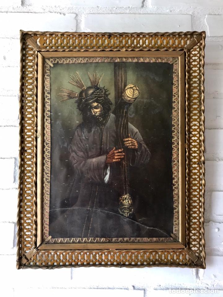 SEMANA SANTA SEVILLA. PRECIOSO Y ANTIGUO CUADRO CON LA IMAGEN DE JESÚS DEL GRAN PODER (Arte - Arte Religioso - Litografías)