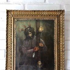 Arte: SEMANA SANTA SEVILLA. PRECIOSO Y ANTIGUO CUADRO CON LA IMAGEN DE JESÚS DEL GRAN PODER. Lote 169588621