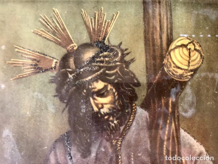 Arte: SEMANA SANTA SEVILLA. PRECIOSO Y ANTIGUO CUADRO CON LA IMAGEN DE JESÚS DEL GRAN PODER - Foto 3 - 169588621