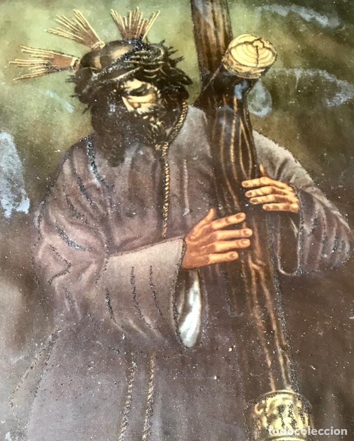 Arte: SEMANA SANTA SEVILLA. PRECIOSO Y ANTIGUO CUADRO CON LA IMAGEN DE JESÚS DEL GRAN PODER - Foto 4 - 169588621