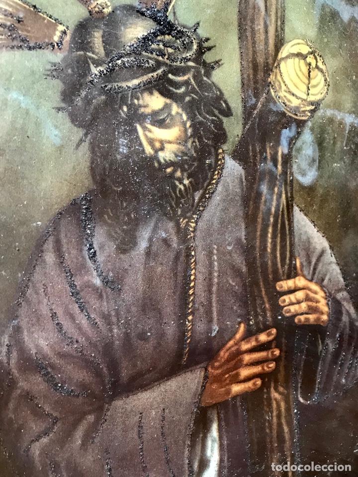 Arte: SEMANA SANTA SEVILLA. PRECIOSO Y ANTIGUO CUADRO CON LA IMAGEN DE JESÚS DEL GRAN PODER - Foto 5 - 169588621