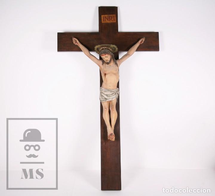 ANTIGUA TALLA DE MADERA POLICROMADA - CRISTO CRUCIFICADO / CRUCIFIJO - FINALES DEL SIGLO XIX (Arte - Arte Religioso - Escultura)
