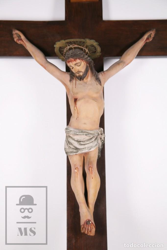 Arte: Antigua Talla de Madera Policromada - Cristo Crucificado / Crucifijo - Finales del Siglo XIX - Foto 2 - 169651464
