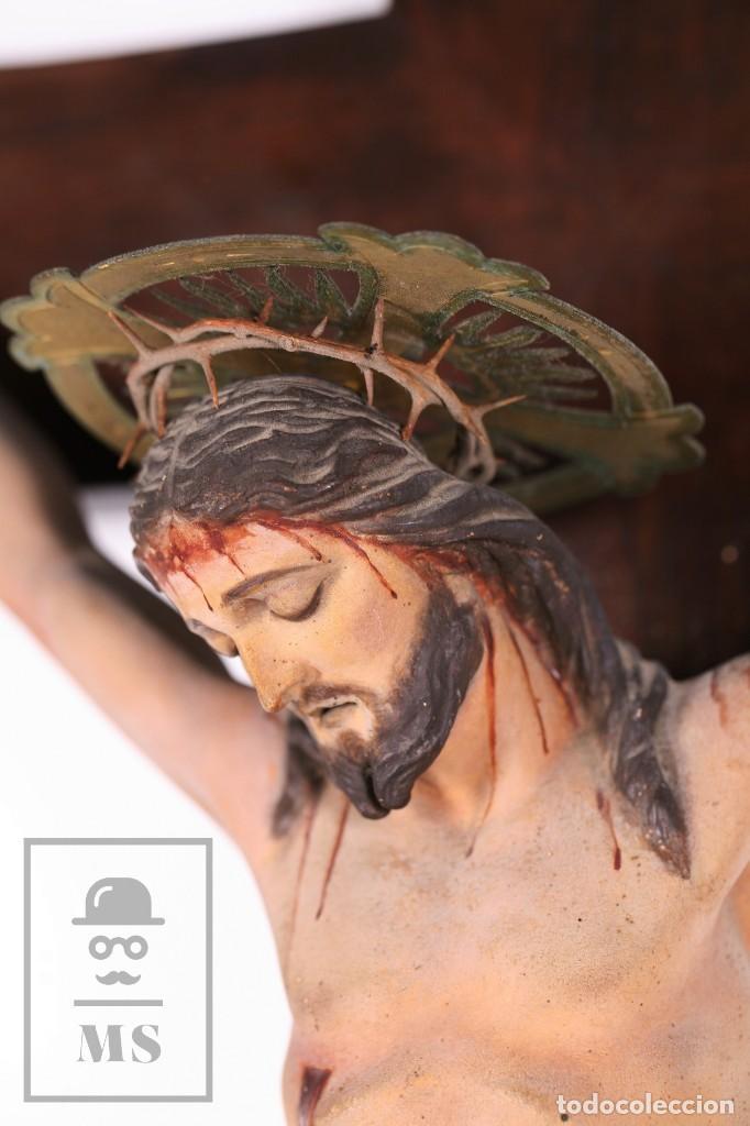 Arte: Antigua Talla de Madera Policromada - Cristo Crucificado / Crucifijo - Finales del Siglo XIX - Foto 3 - 169651464