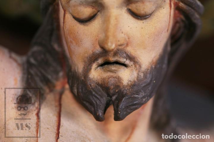 Arte: Antigua Talla de Madera Policromada - Cristo Crucificado / Crucifijo - Finales del Siglo XIX - Foto 5 - 169651464
