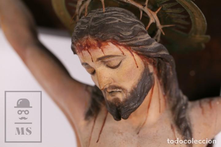 Arte: Antigua Talla de Madera Policromada - Cristo Crucificado / Crucifijo - Finales del Siglo XIX - Foto 6 - 169651464