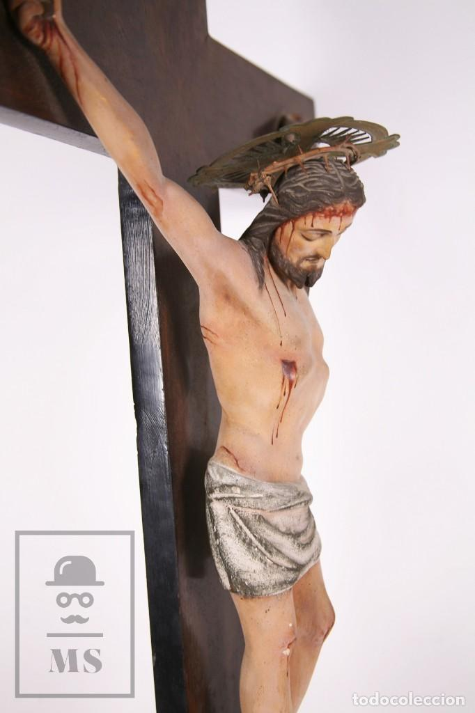 Arte: Antigua Talla de Madera Policromada - Cristo Crucificado / Crucifijo - Finales del Siglo XIX - Foto 9 - 169651464