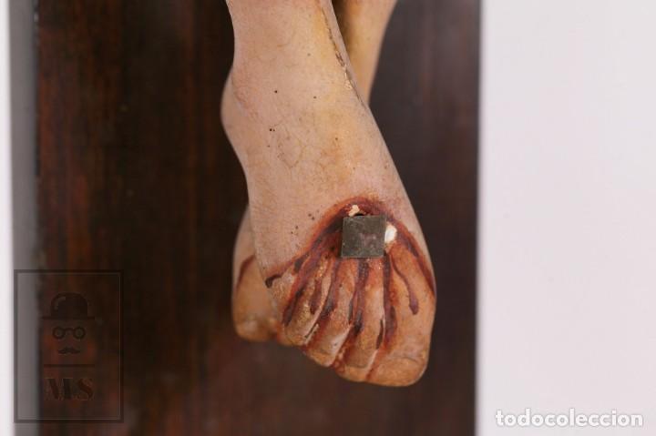 Arte: Antigua Talla de Madera Policromada - Cristo Crucificado / Crucifijo - Finales del Siglo XIX - Foto 13 - 169651464