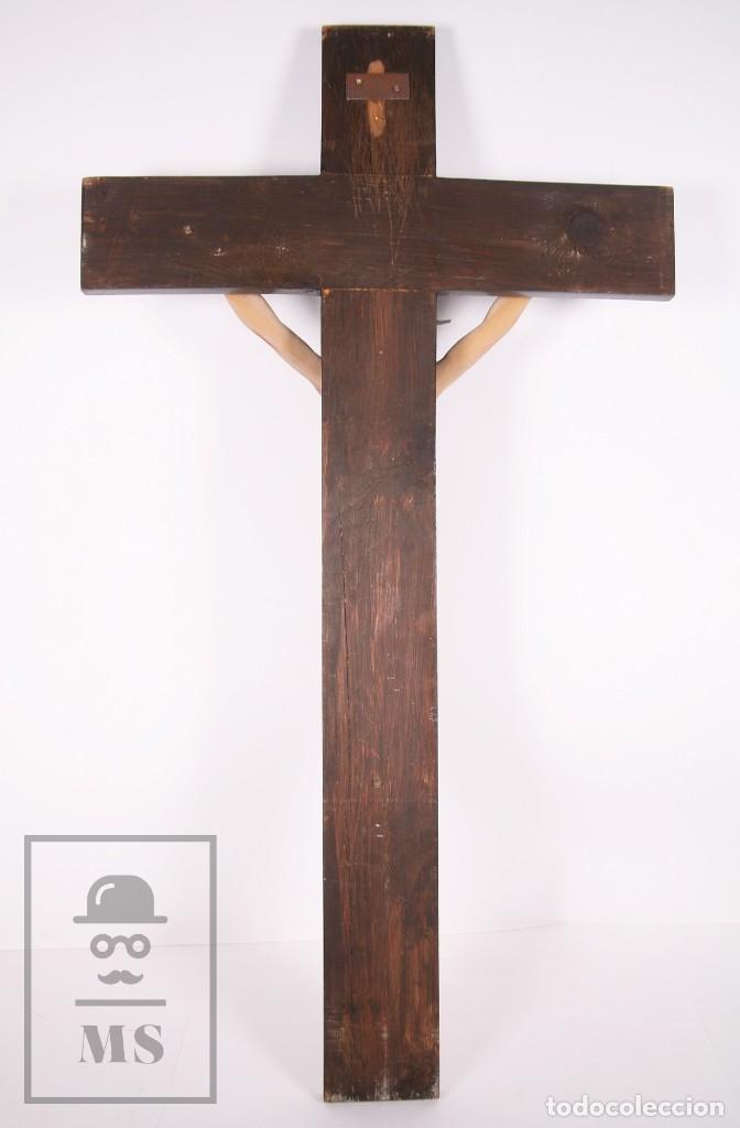 Arte: Antigua Talla de Madera Policromada - Cristo Crucificado / Crucifijo - Finales del Siglo XIX - Foto 14 - 169651464
