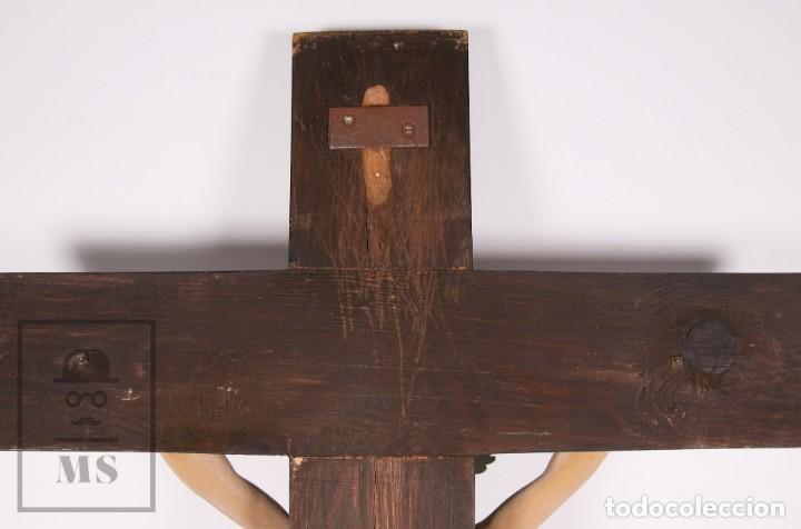Arte: Antigua Talla de Madera Policromada - Cristo Crucificado / Crucifijo - Finales del Siglo XIX - Foto 15 - 169651464