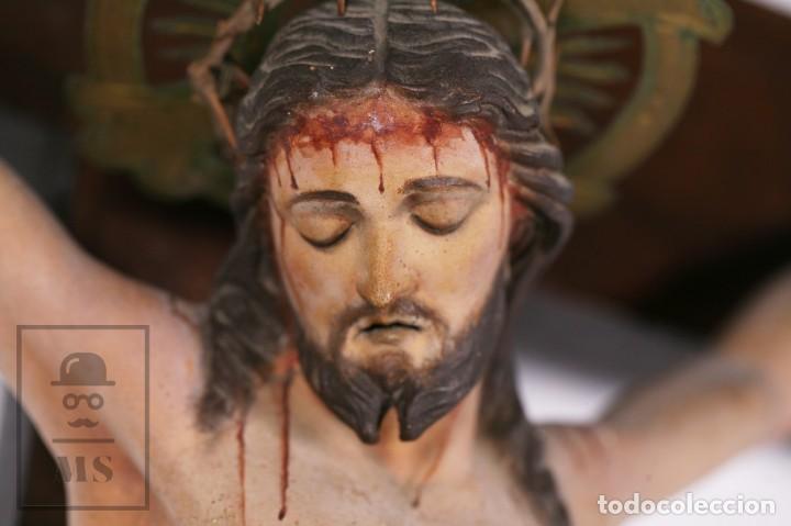 Arte: Antigua Talla de Madera Policromada - Cristo Crucificado / Crucifijo - Finales del Siglo XIX - Foto 16 - 169651464