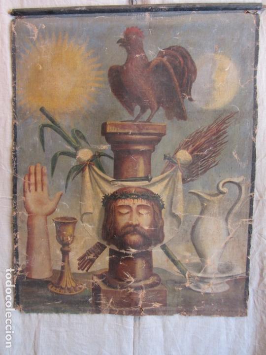 ESTANDARTE O PENDÓN CON LA SANTA FAZ Y EL ARMA CHRISTI S.XVIII (Arte - Arte Religioso - Pintura Religiosa - Oleo)