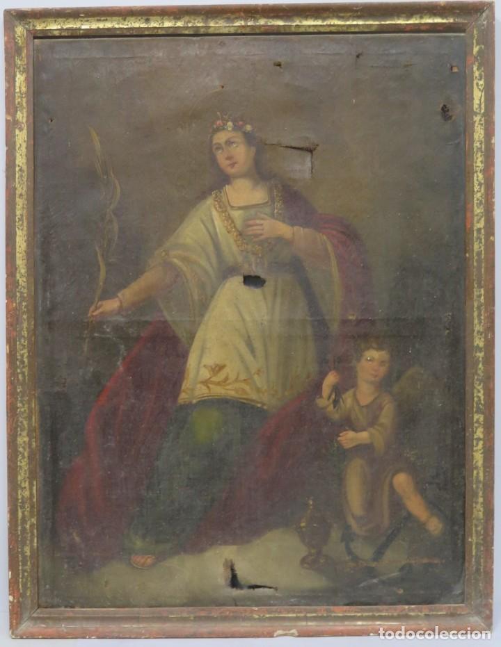 PRECIOSA SANTA FILOMENA. OLEO S/ LIENZO. ESCUELA ESPAÑOLA. SIGLO XVII-XVIII. MARCO DE EPOCA (Arte - Arte Religioso - Pintura Religiosa - Oleo)