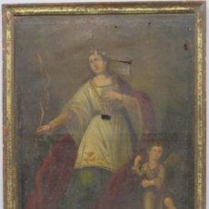 Arte: PRECIOSA SANTA FILOMENA. OLEO S/ LIENZO. ESCUELA ESPAÑOLA. SIGLO XVII-XVIII. MARCO DE EPOCA. Lote 169684968