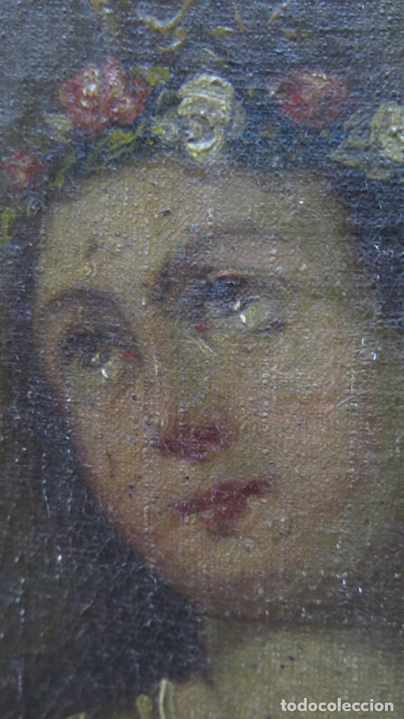 Arte: PRECIOSA SANTA FILOMENA. OLEO S/ LIENZO. ESCUELA ESPAÑOLA. SIGLO XVII-XVIII. MARCO DE EPOCA - Foto 8 - 169684968