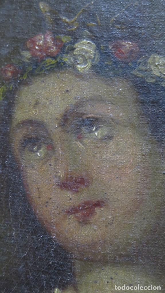 Arte: PRECIOSA SANTA FILOMENA. OLEO S/ LIENZO. ESCUELA ESPAÑOLA. SIGLO XVII-XVIII. MARCO DE EPOCA - Foto 12 - 169684968
