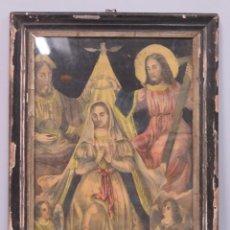 Arte: LITOGRAFIA DE CORONACION DE LA VIRGEN POR LA SANTISIMA TRINIDAD. SIGLO XIX. Lote 169688152