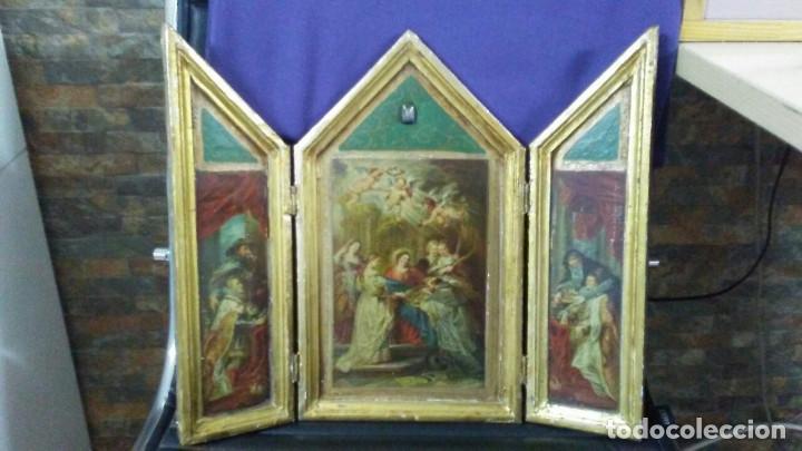 ANTIGUO TRÍPTICO ADORACIÓN A LA VIRGEN (Arte - Arte Religioso - Trípticos)