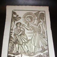 Arte: SIGLO XIX GRABADO XILOGRAFICO DE SAN RAFAEL ARCANGEL - RELIGION - MANRESA POR PABLO ROCA. Lote 169723668