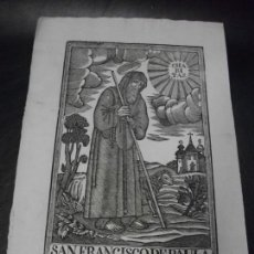 Arte: SIGLO XIX GRABADO XILOGRAFICO DE SAN FRANCISCO DE PAULA OVEJA - RELIGION - MANRESA POR PABLO ROCA. Lote 169723780