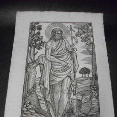Arte: SIGLO XIX GRABADO XILOGRAFICO DE SAN JUAN BAUTISTA OVEJA - RELIGION - MANRESA POR PABLO ROCA. Lote 169723584