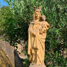 Arte: EXCEPCIONAL IMAGEN, VIRGEN DEL PILAR CON NIÑO JESUS Y PALOMA O ESPIRITU SANTO. 55CMS. ESTUCO. OLOT. Lote 169790144