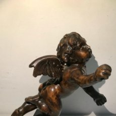 Arte: QUERUBIN ANGELOTE TALLADO DE MADERA CON BASE DE MÁRMOL NEGRA. FINALES S. XIX PRINCIPIOS S XX. Lote 169874630