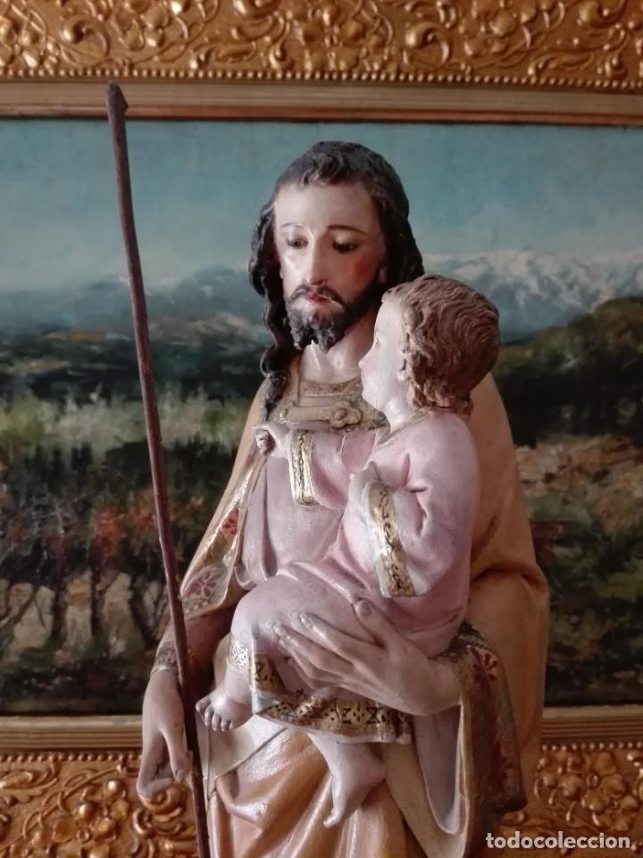 Arte: SAN JOSÉ CON EL NIÑO JESÚS -TALLA MADERA POLICROMADA S.XIX - Foto 2 - 169876760