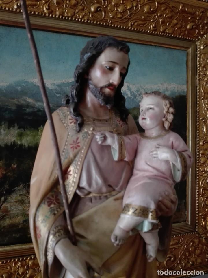 Arte: SAN JOSÉ CON EL NIÑO JESÚS -TALLA MADERA POLICROMADA S.XIX - Foto 6 - 169876760