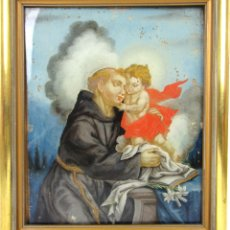Arte: OLEO SIGLO XVIII SOBRE VIDRIO DE SAN ANTONIO DE PADUA CON EL NIÑO. Lote 169890048
