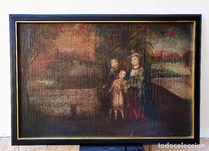 SAGRADA FAMILIA. ESCUELA COLONIAL, SIGLO XVIII. ÓLEO SOBRE LIENZO. REENTELADO. (Arte - Arte Religioso - Pintura Religiosa - Oleo)