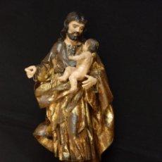 Arte: SAN JOSÉ CON EL NIÑO JESÚS. ESCULTURA DE MADERA TALLADA. ESCUELA COLONIAL. 42 CM. S XVII-XVII.. Lote 170030284