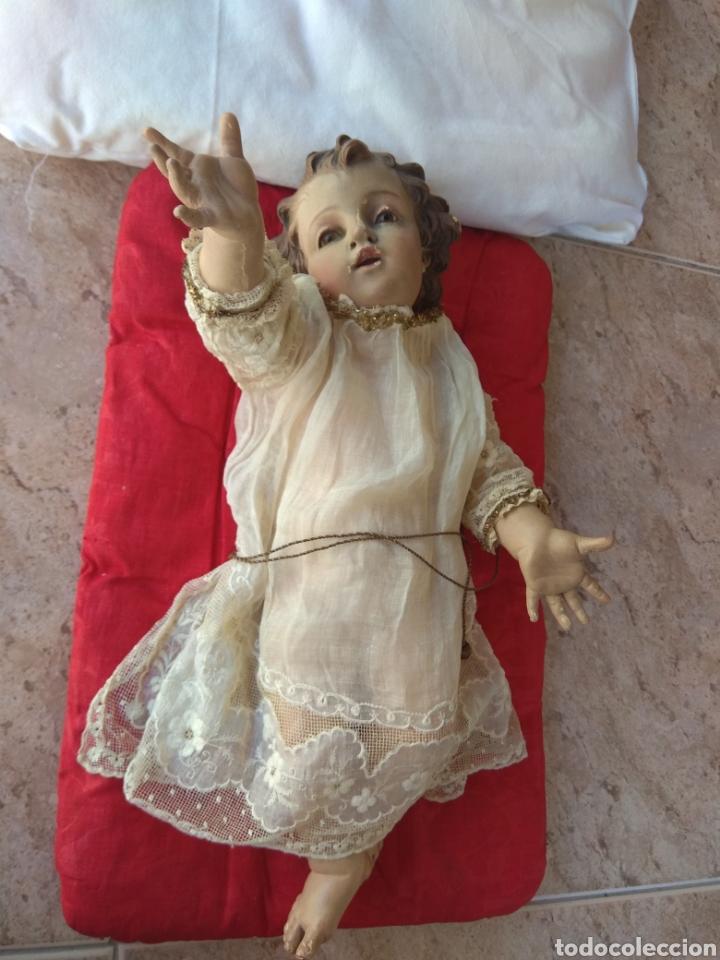 PRECIOSO NIÑO JESÚS XIX MADERA POLICROMADA - OJOS CRISTAL - (Arte - Arte Religioso - Escultura)