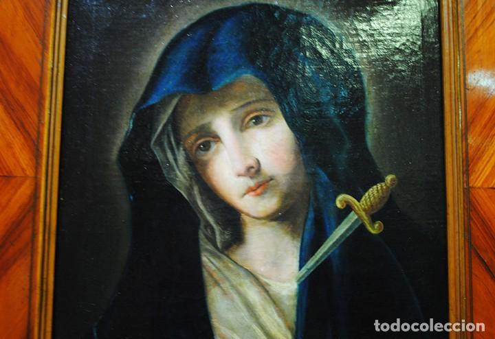 Arte: ÓLEO SOBRE LIENZO VIRGEN DOLOROSA SIGLO XVIII - Foto 4 - 170295112