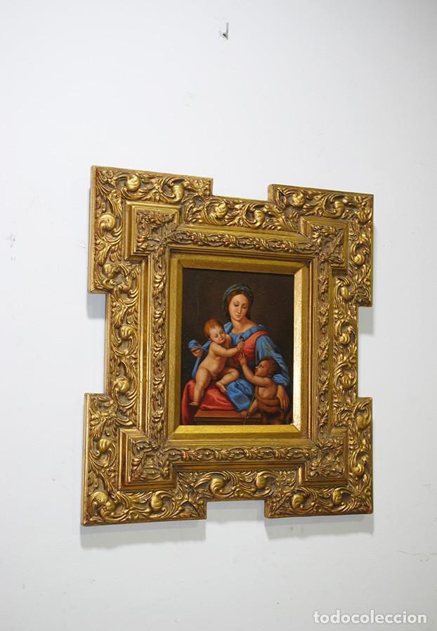 PINTURA ANTIGUA VIRGEN SOBRE PLANCHA DE COBRE (Arte - Arte Religioso - Pintura Religiosa - Oleo)