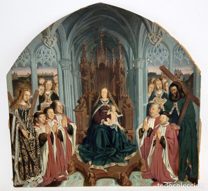 VIRGEN CON NIÑO CON TRONO GOTICO - PRECIOSA ESCENA ILUMINADA A COLOR - BCN. (Arte - Arte Religioso - Pintura Religiosa - Otros)