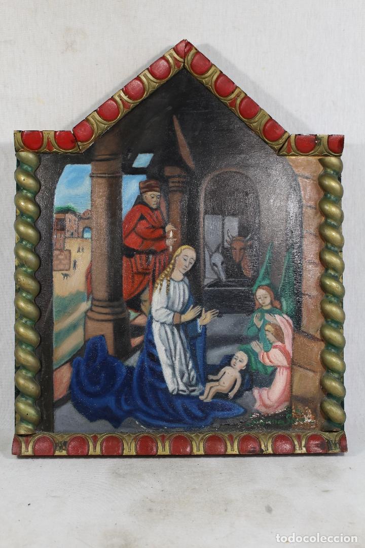 Arte: retablo nacimiento oleo sobre madera original firmado - Foto 4 - 170467288
