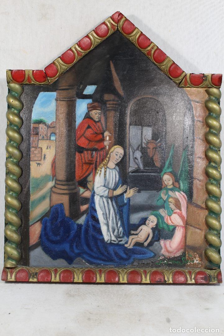 RETABLO NACIMIENTO OLEO SOBRE MADERA ORIGINAL FIRMADO (Arte - Arte Religioso - Retablos)