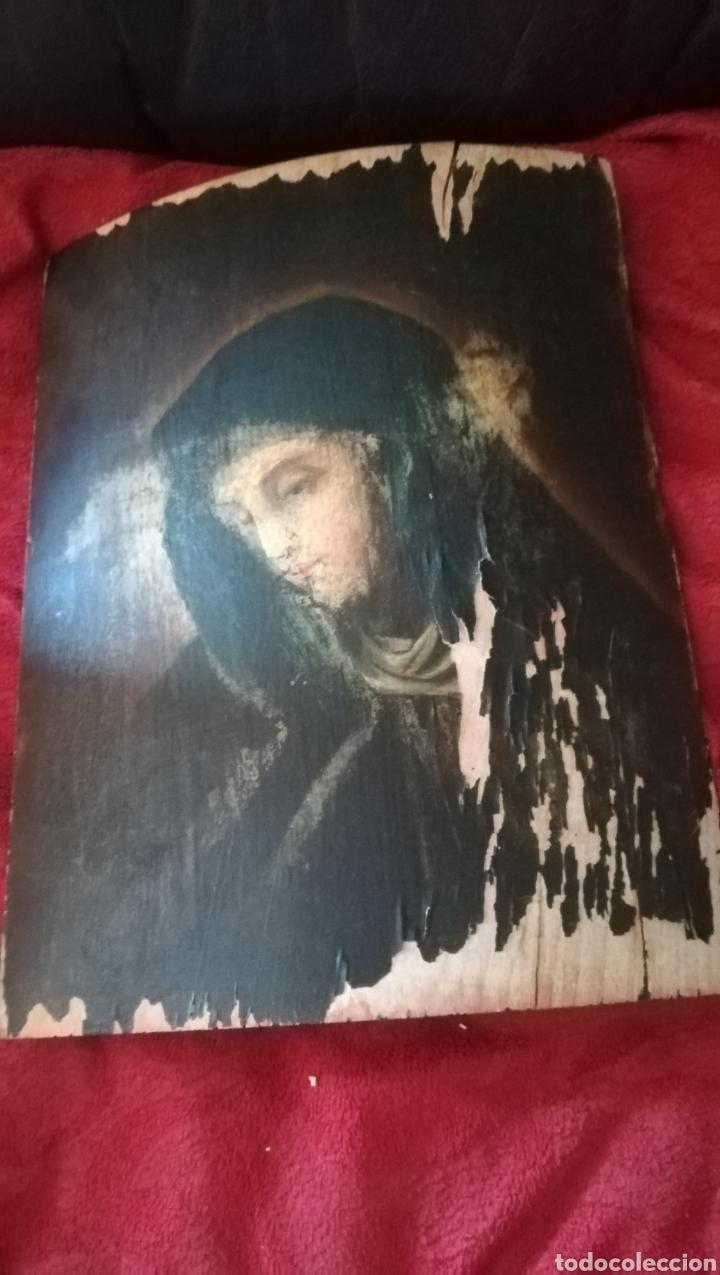 Arte: Antiguo óleo religioso sobre madera abarquillada - Foto 2 - 109464240