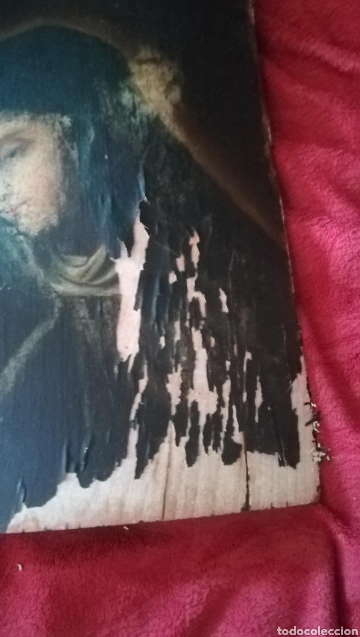 Arte: Antiguo óleo religioso sobre madera abarquillada - Foto 3 - 109464240